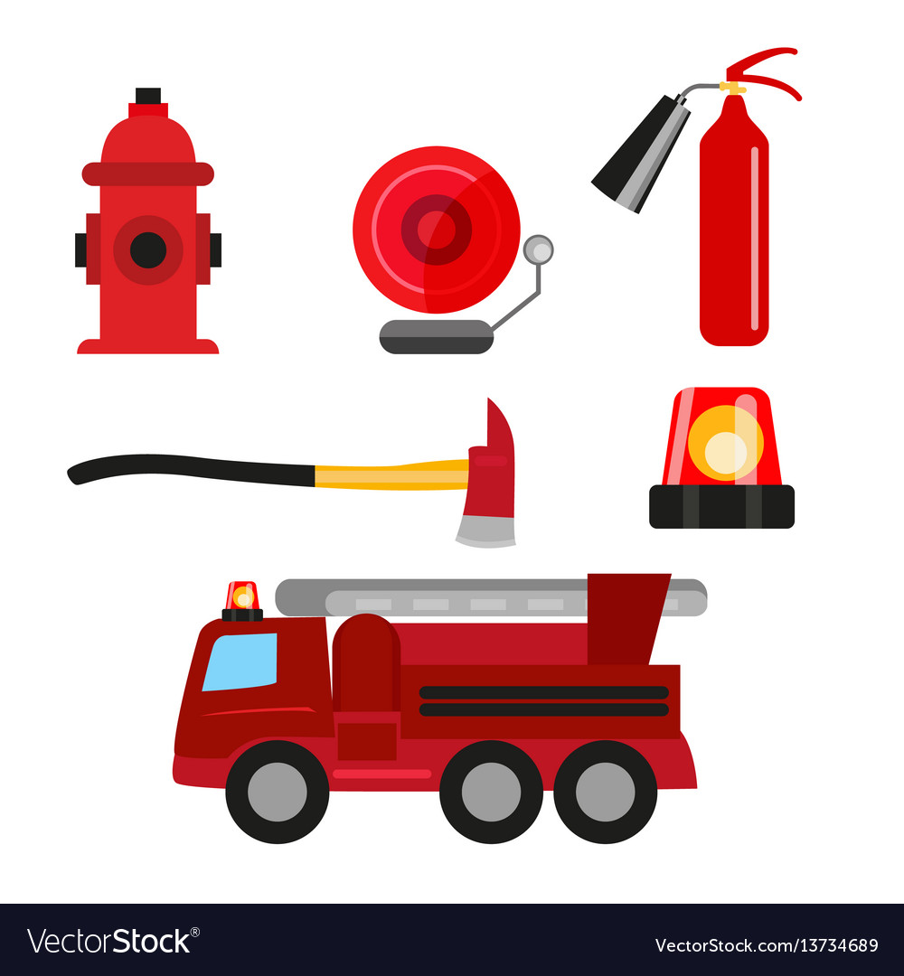 Fire safety icons set isolated on white background