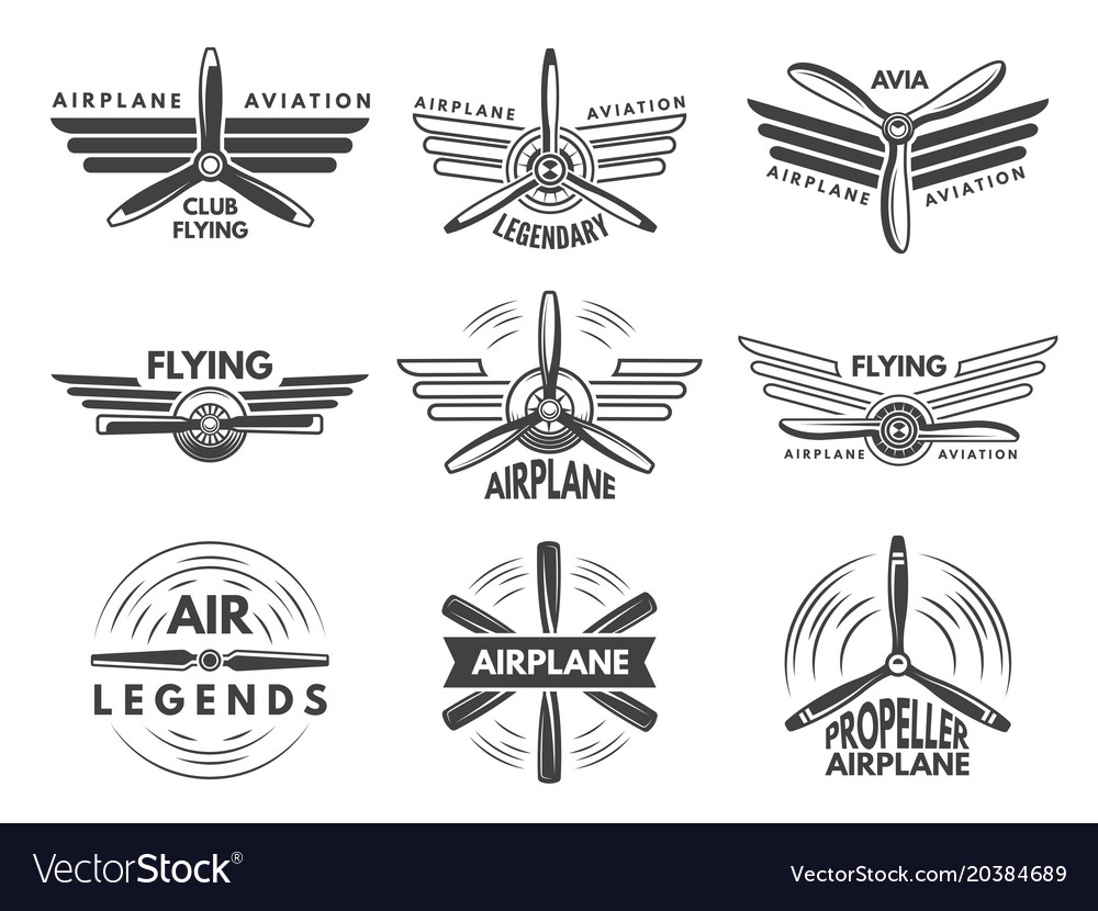 Labels An Logos For Military Aviation Aviator Vector Image