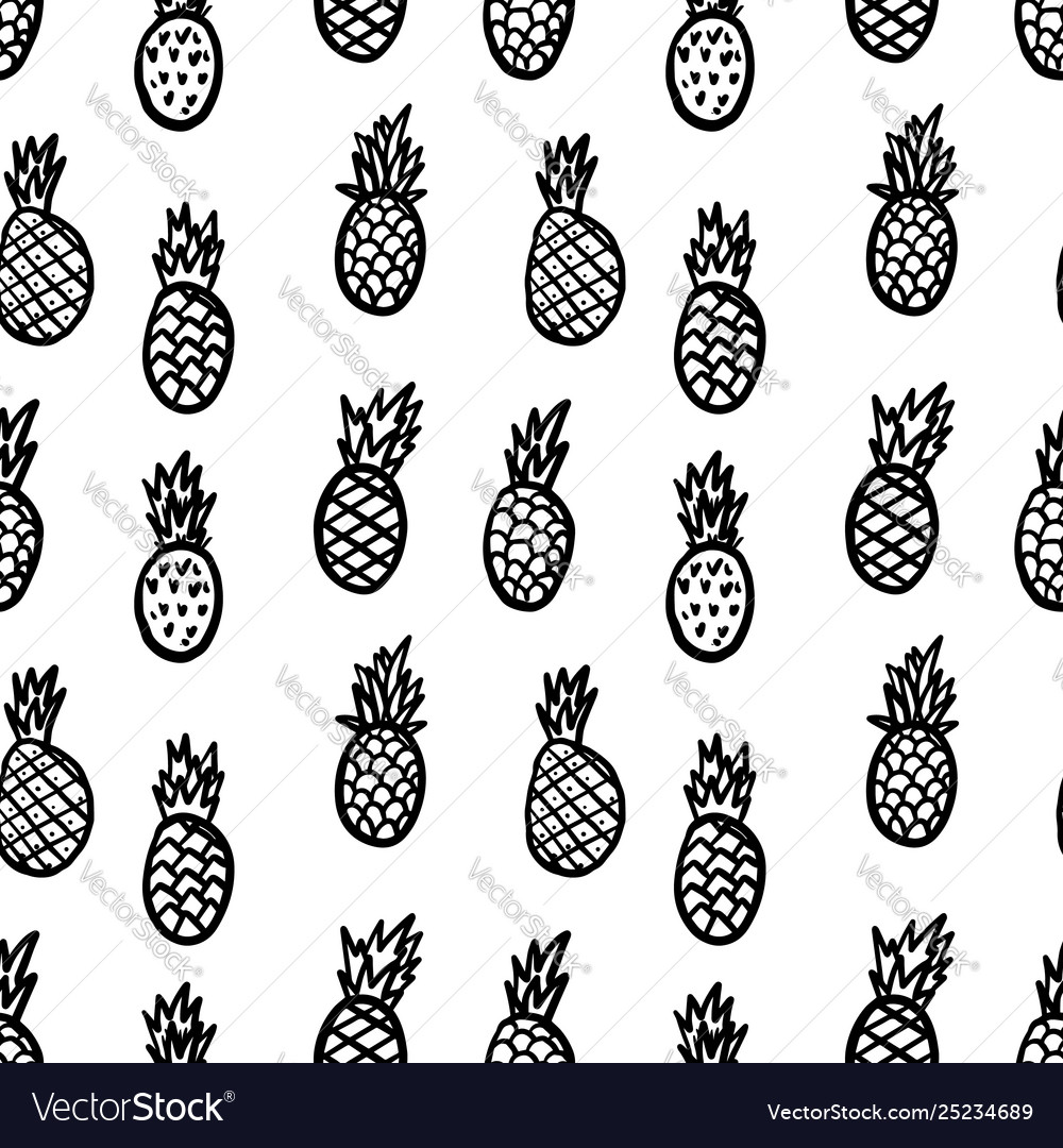 Seamless pattern with hand drawn pineapples