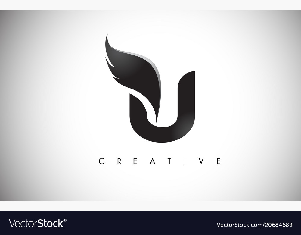 U Letter Wings Logo Design With Black Bird Fly Vector Image