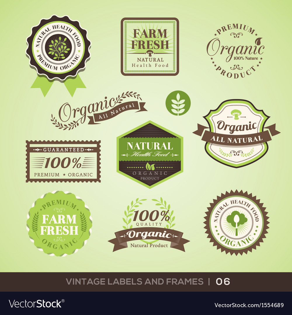 Vintage Fresh Organic Product Labels and Frames