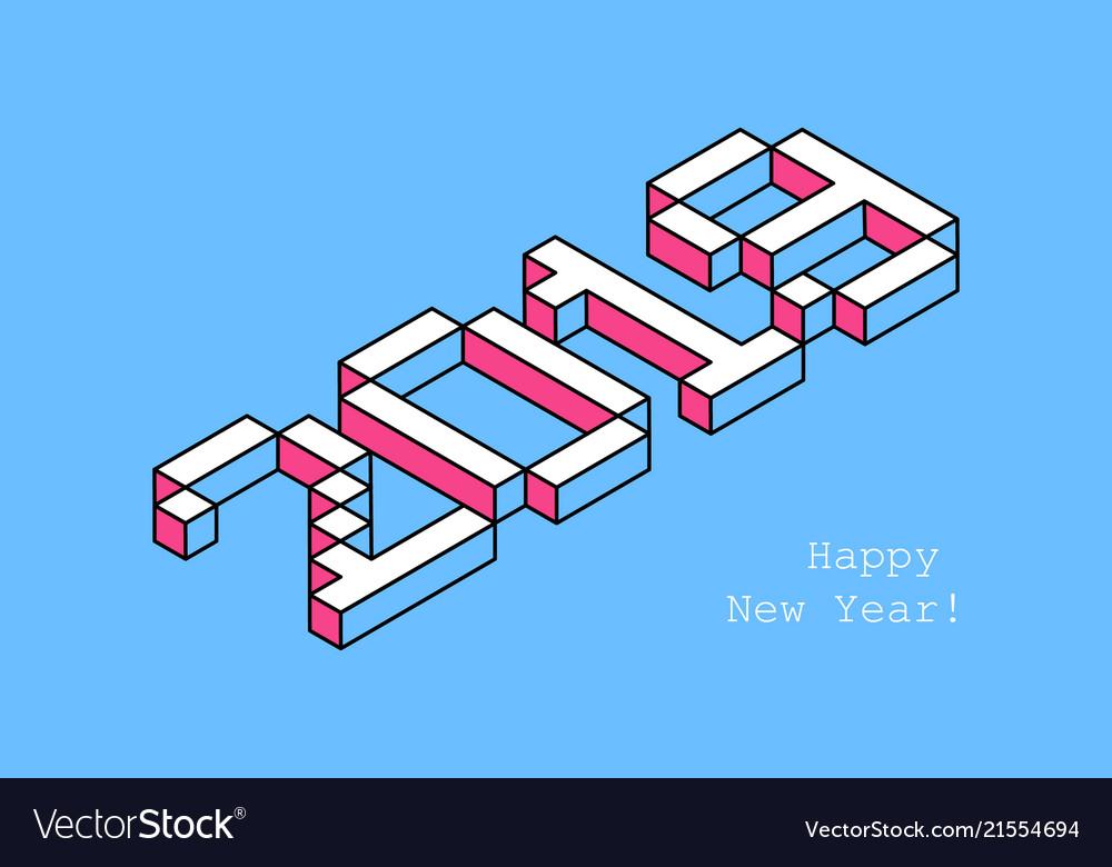 2019 happy new year typography design