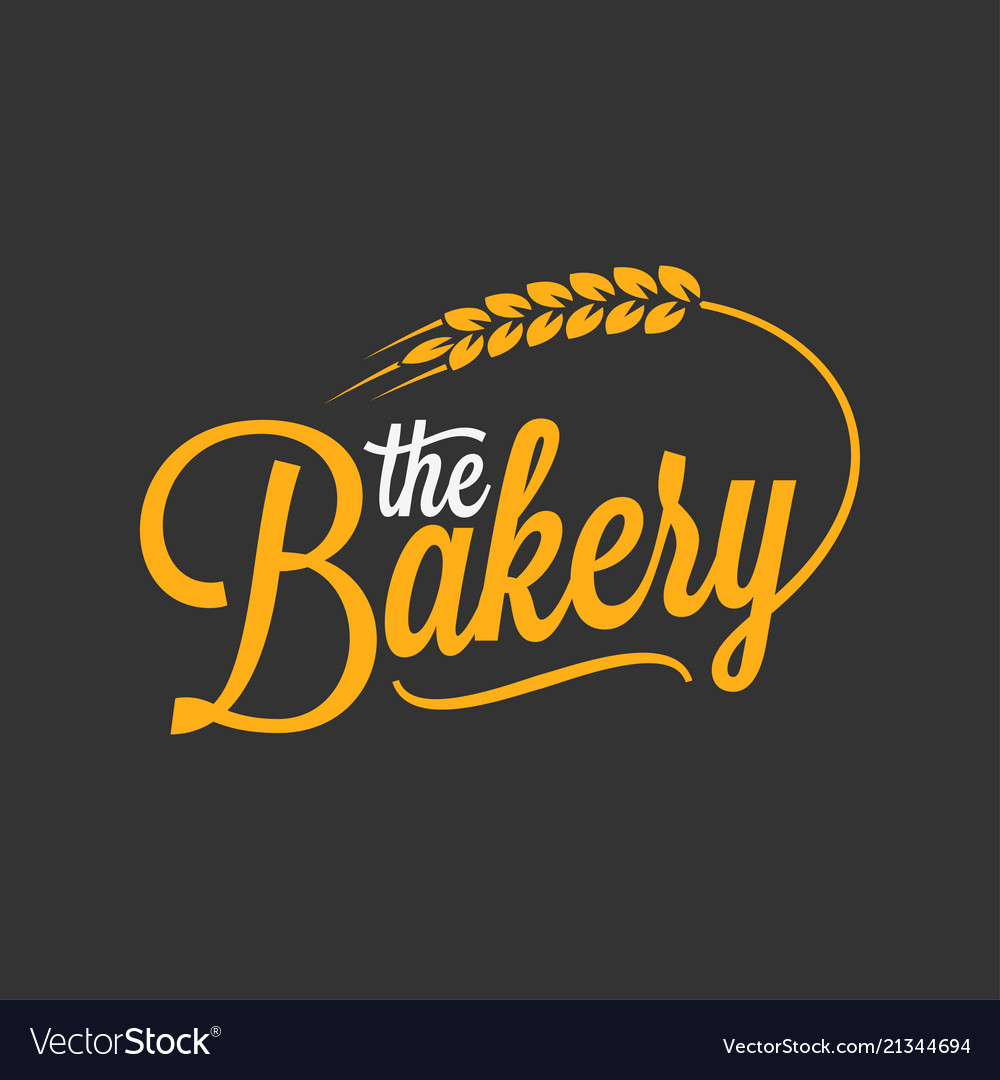 Bakery vintage lettering logo with wheat on black