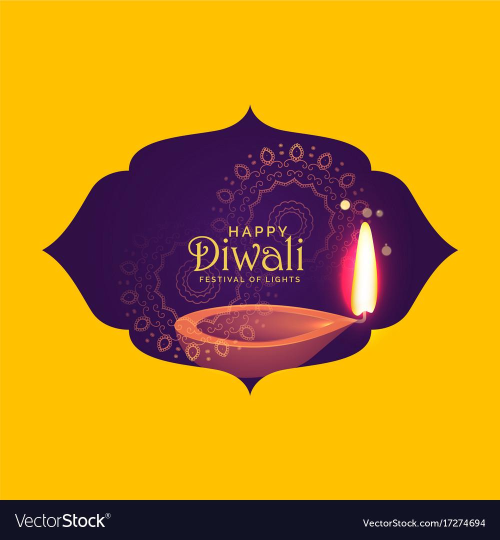 Beautiful diwali card design for festival of light