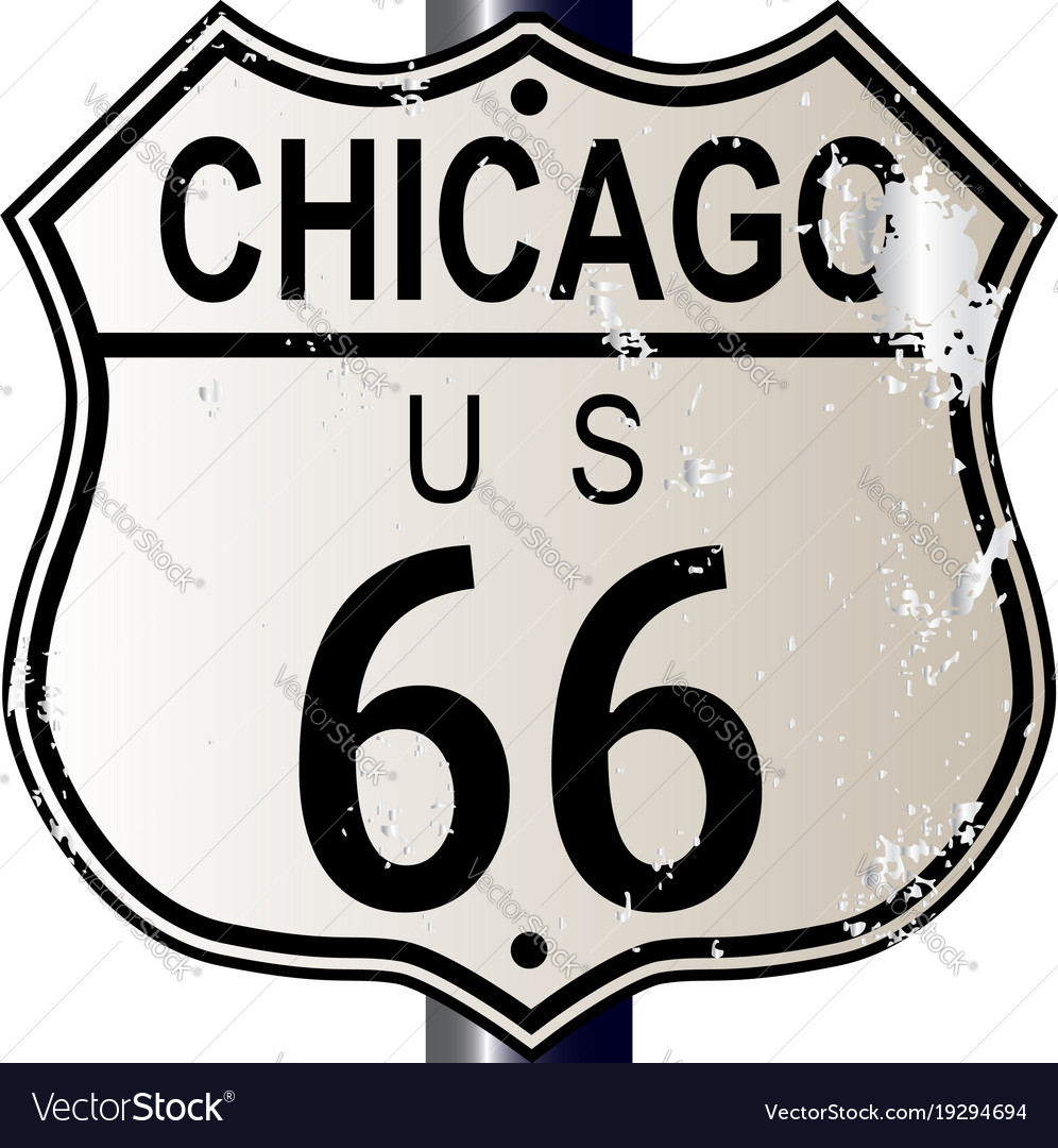 chicago route 66 highway sign royalty free vector image rh vectorstock com route 66 logo free printable route 66 logo free printable