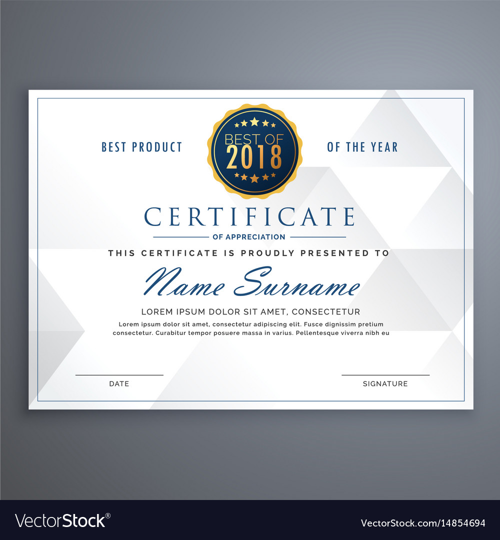 Clean White Certificate Design Template Royalty Free Vector