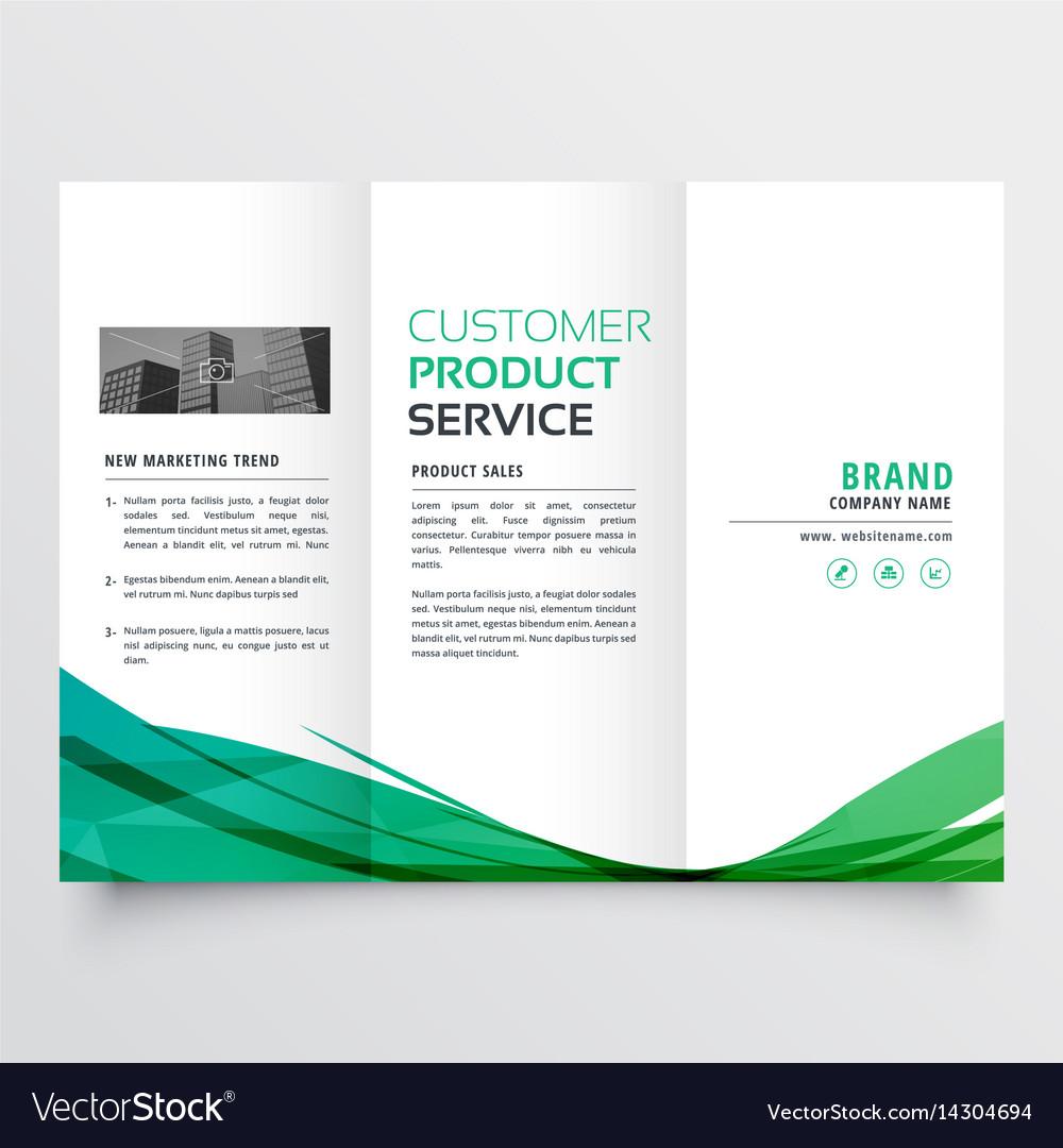 Elegant Green Wave Trifold Brochure Design For Vector Image