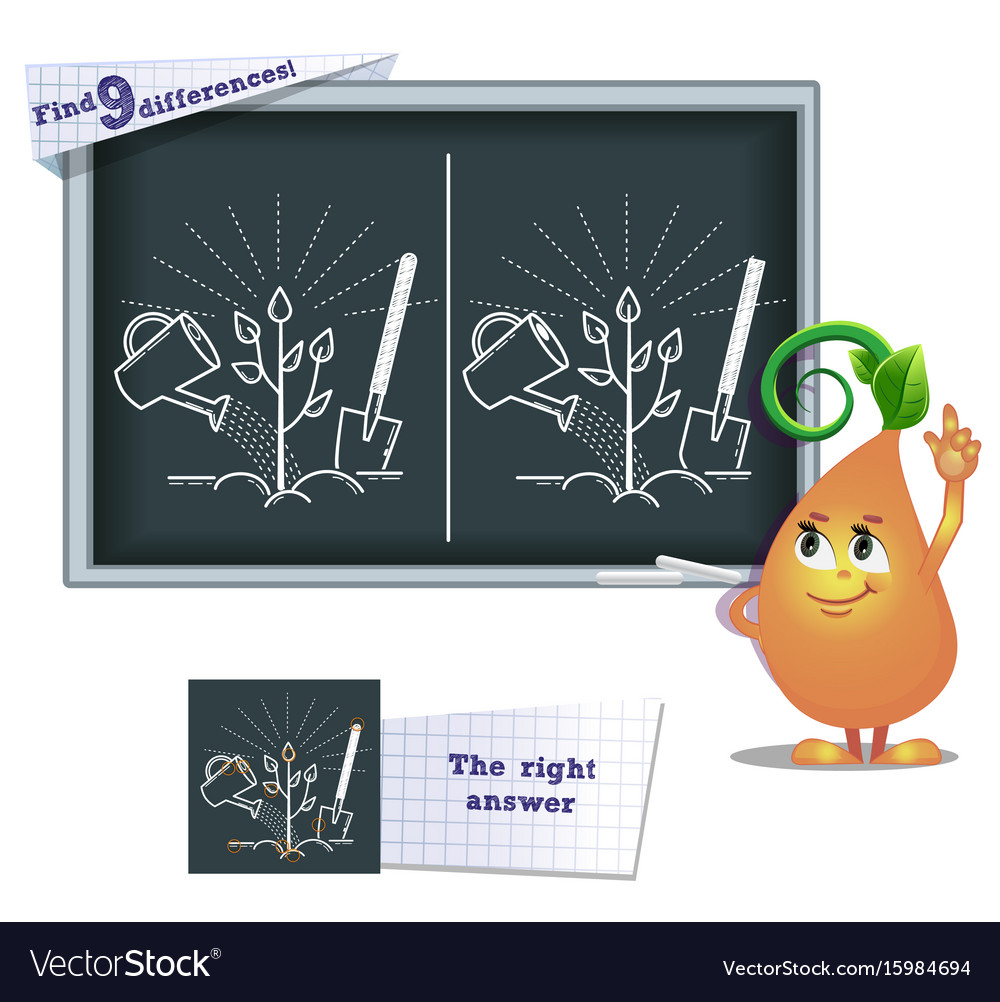 Game find 9 differences tree vector image