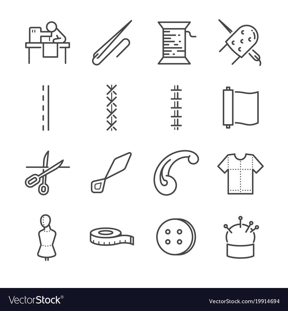 Garment line icon set