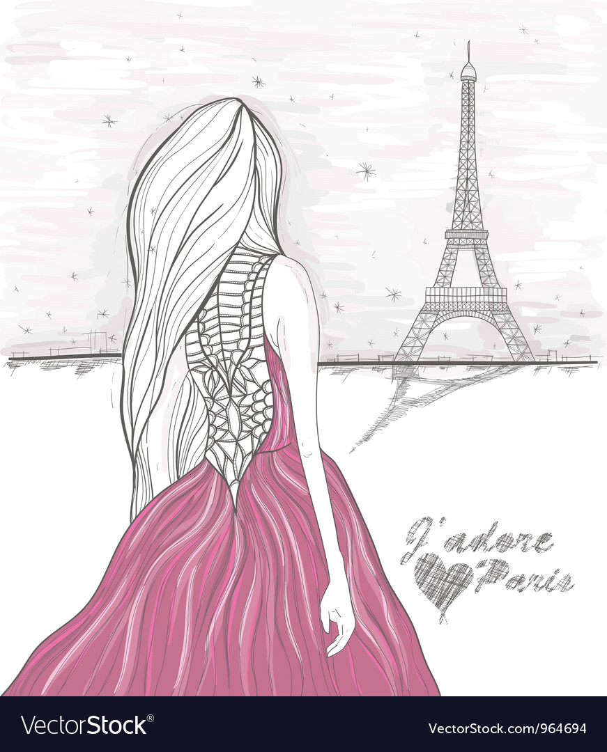 Girl in Paris looks at eiffel tower vector image