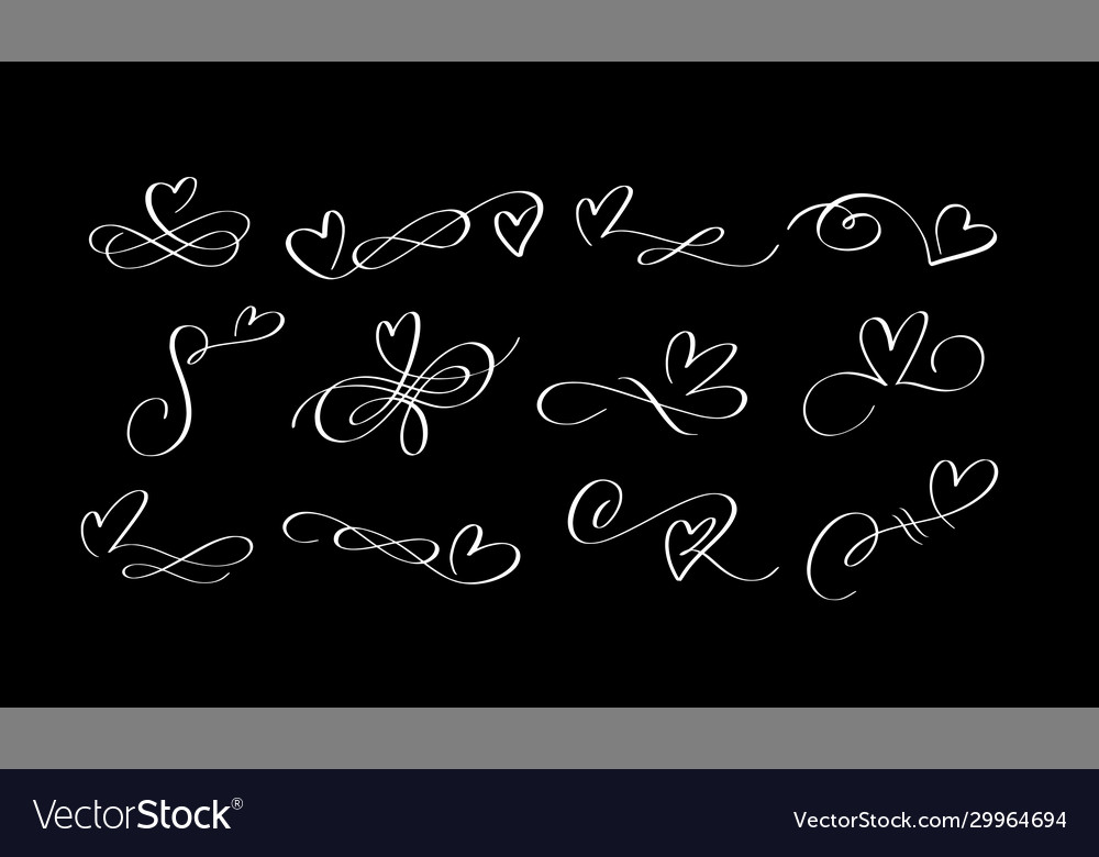 Heart ink pen swirl calligraphy flourishes