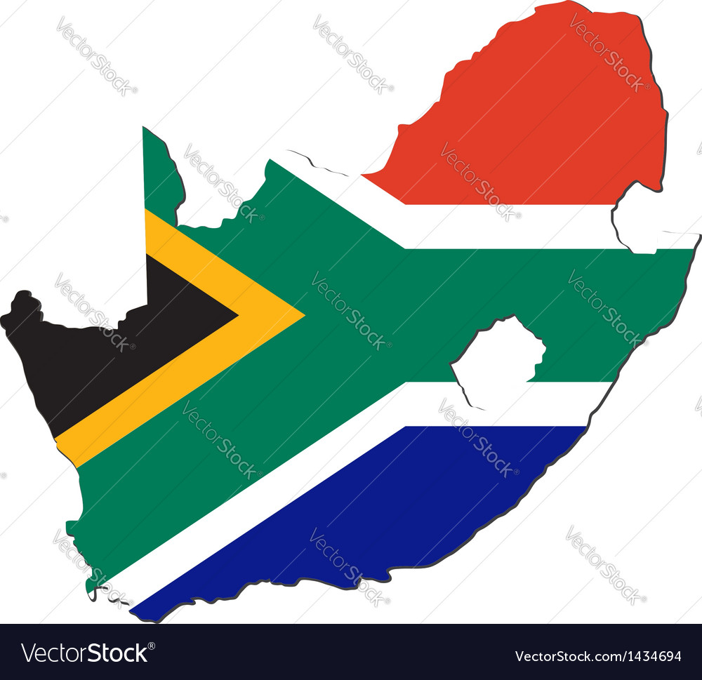 Map of South Africa with national flag vector image