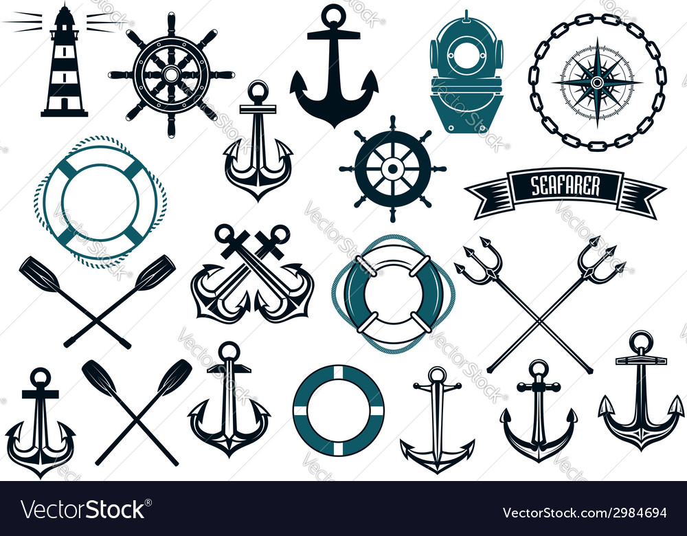 Nautical themed design elements vector image