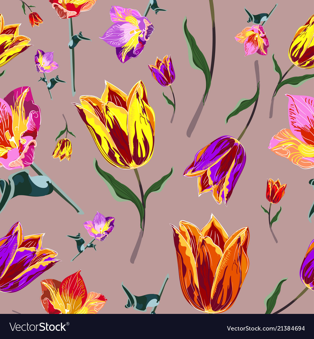 Seamless colored tulips