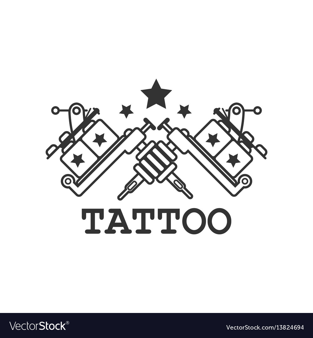 Tattoo salon label with two crossed mechanic ink