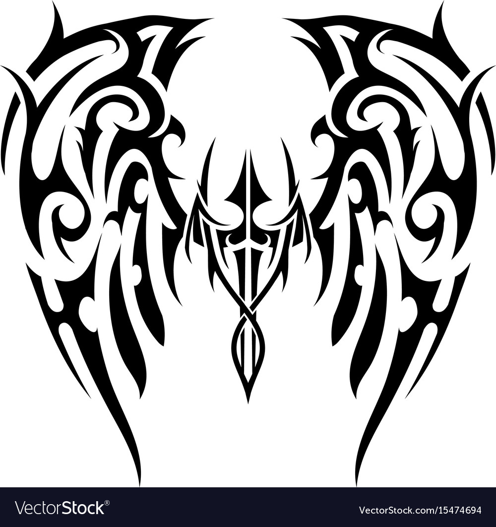a5a15b82bdc69 Wings tattoo in tribal art style angel wings Vector Image
