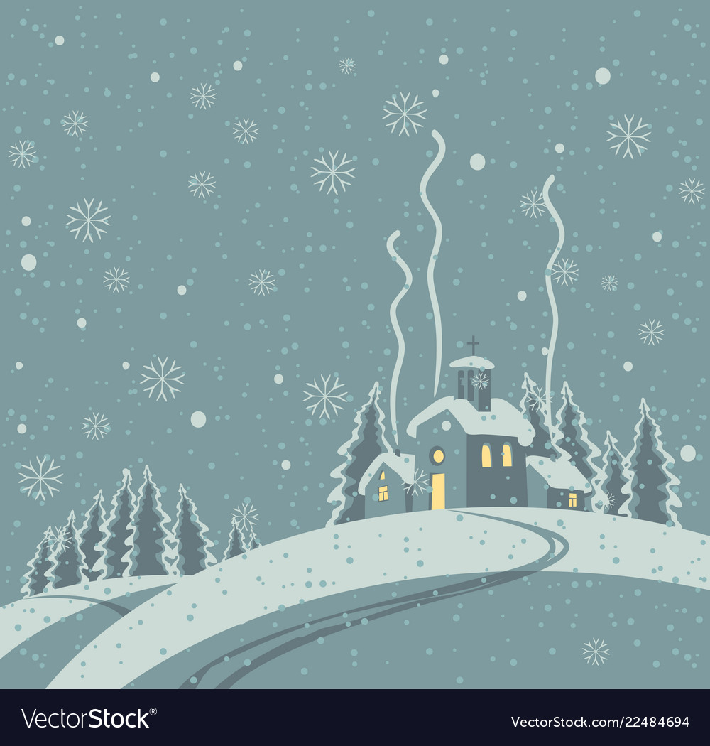 Winter night with snow-covered village in the wood