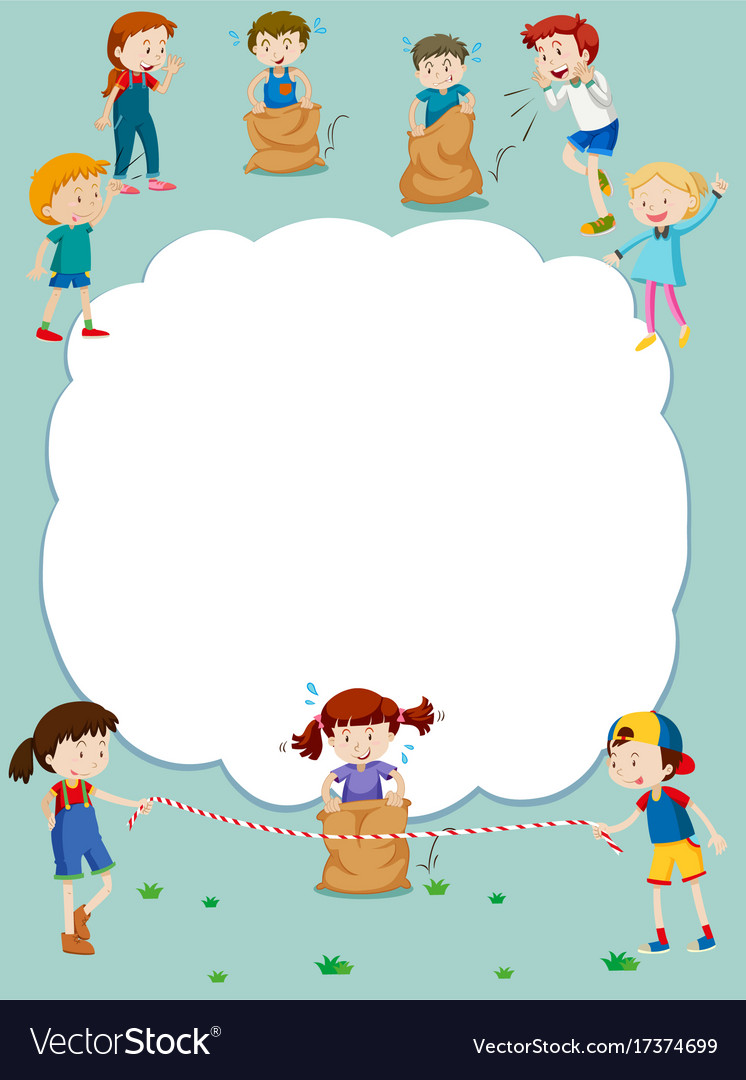 Border template with kids playing games vector image