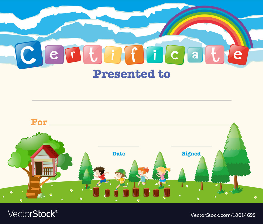 Certificate Template With Kids In Field Royalty Free Vector