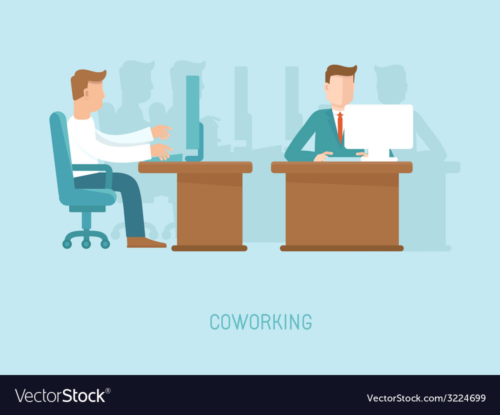 Coworking concept in flat style