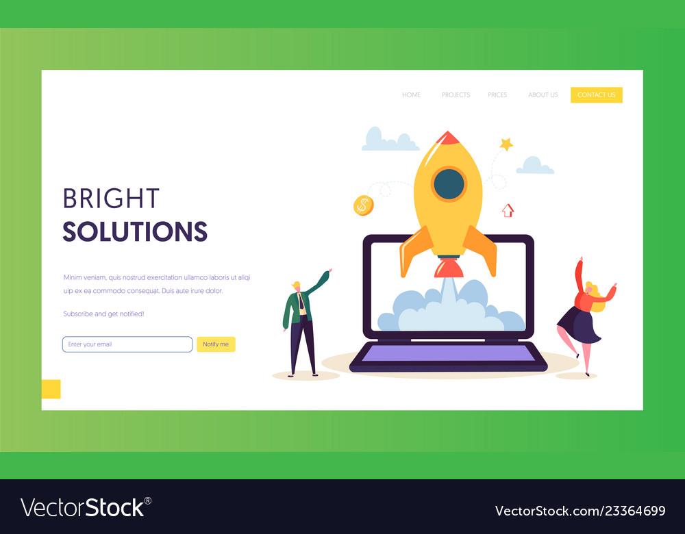 Creative startup rocket launch landing page