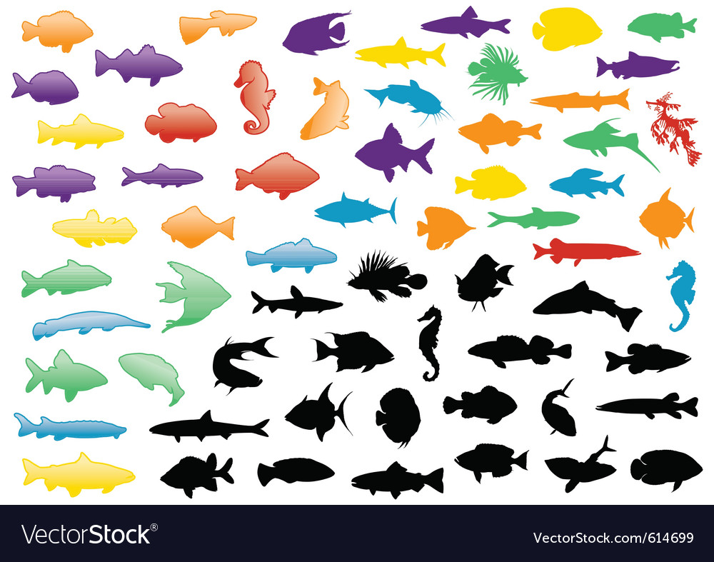 Fish silhouettes set