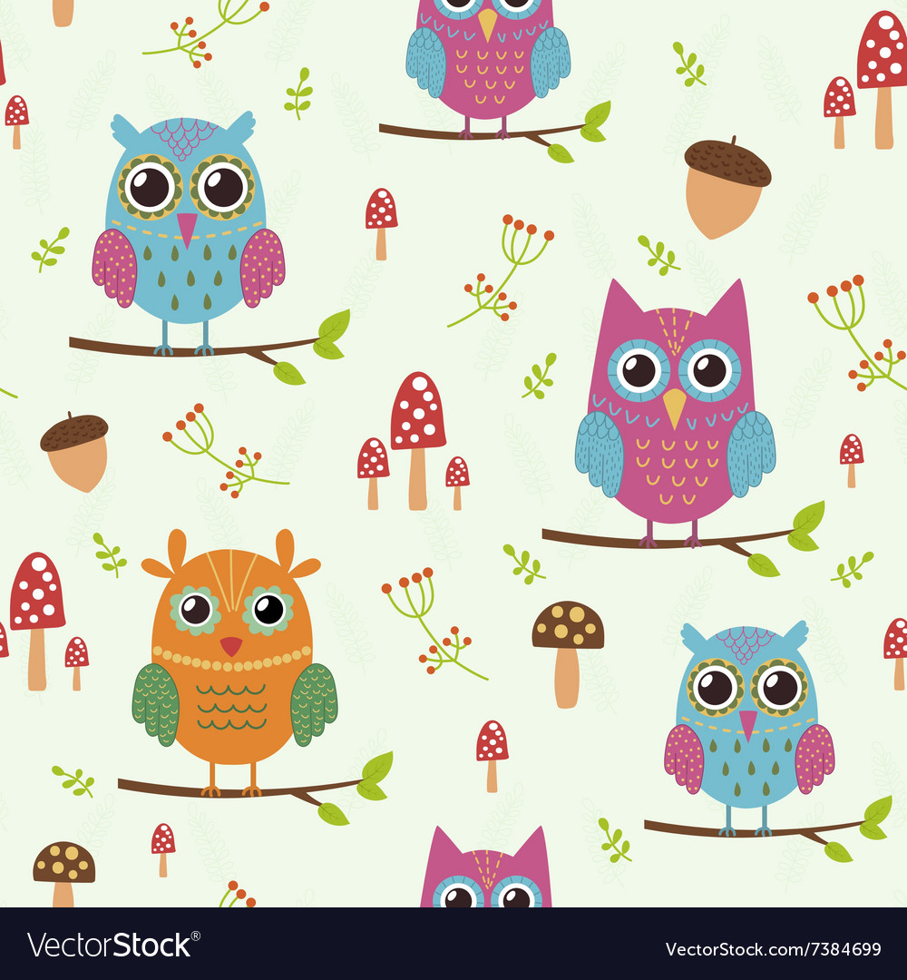 Forest seamless pattern with cute owls
