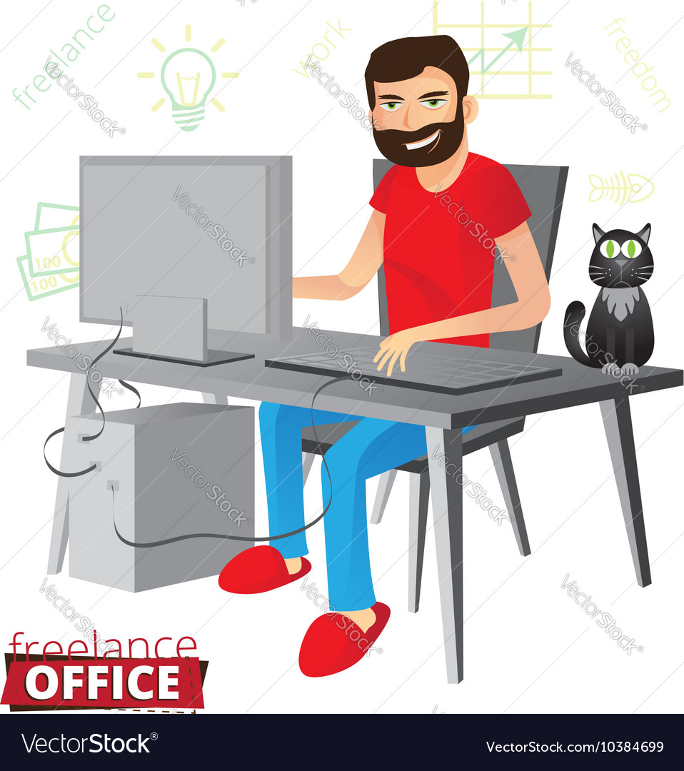 Funny bearded freelancer working at home