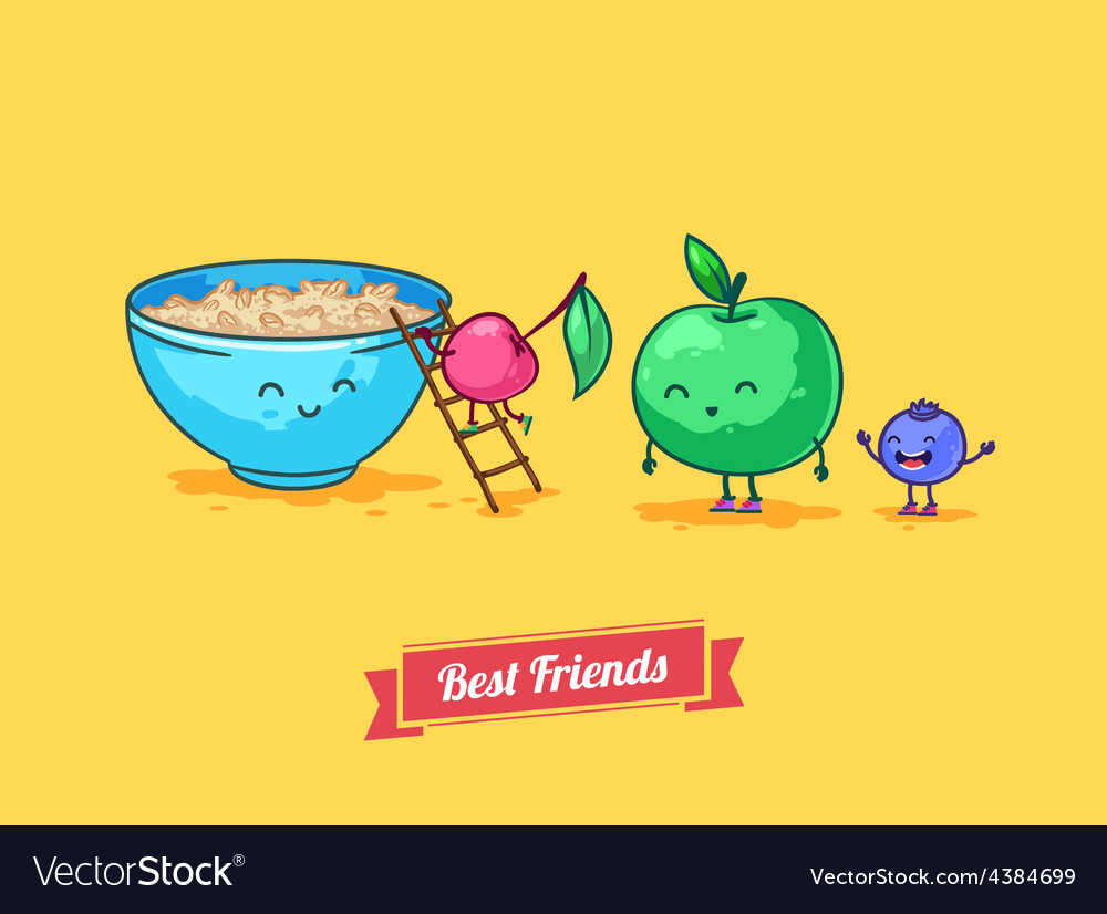 Funny cartoon Fruit diet Porridge and