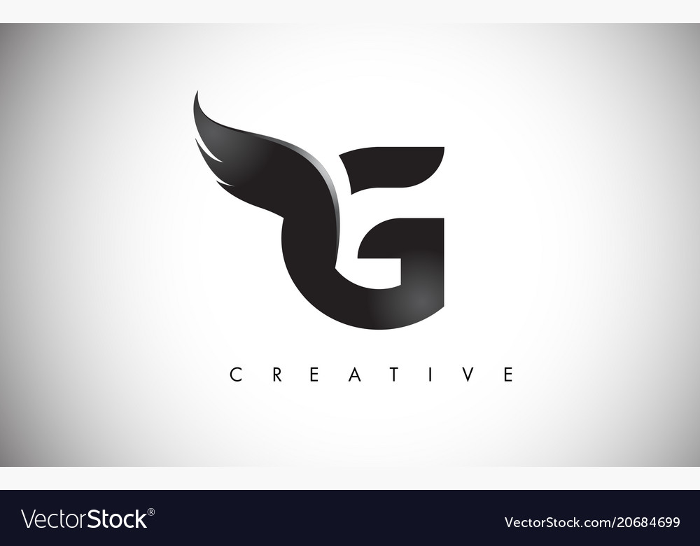 g letter wings logo design with black bird fly vector image