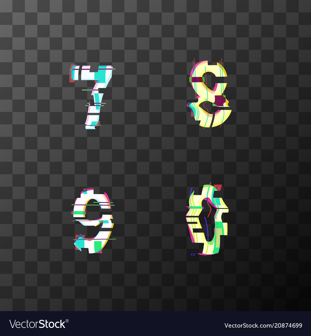 Glitch distortion font latin 7 8 9 0 letters