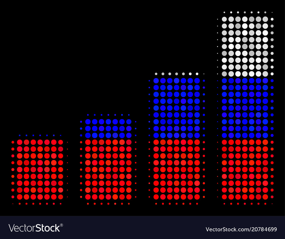 Halftone russian bar chart icon