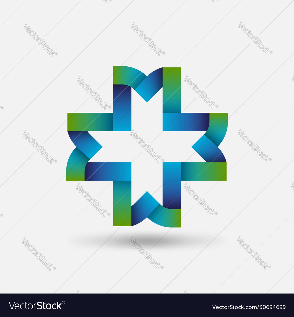 Healthy care symbol cross intertwined ribbons
