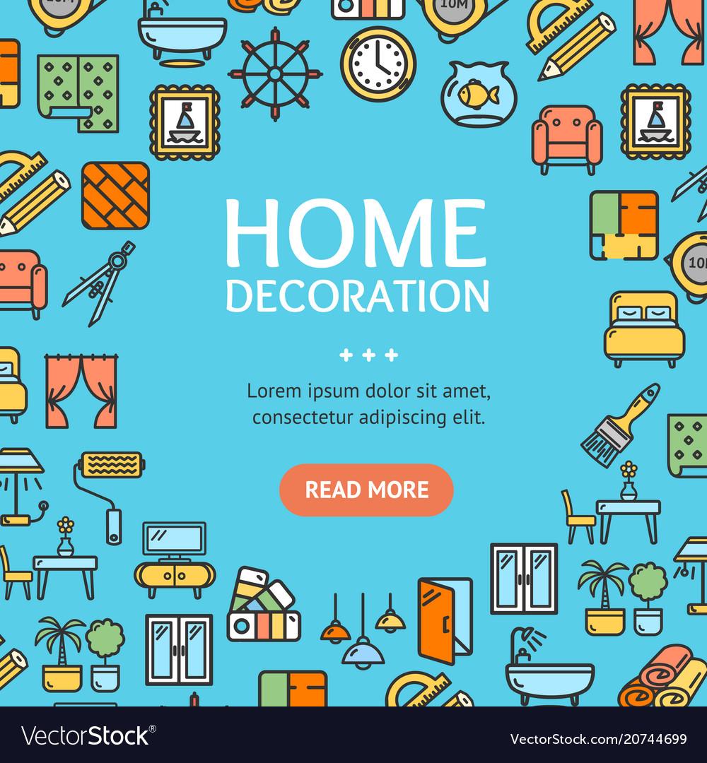 Home decor signs round design template line icon