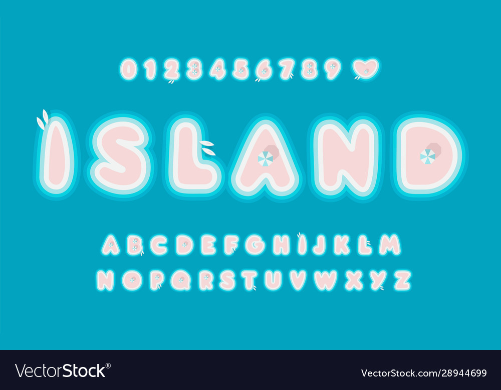 Island abstract letters set with boats