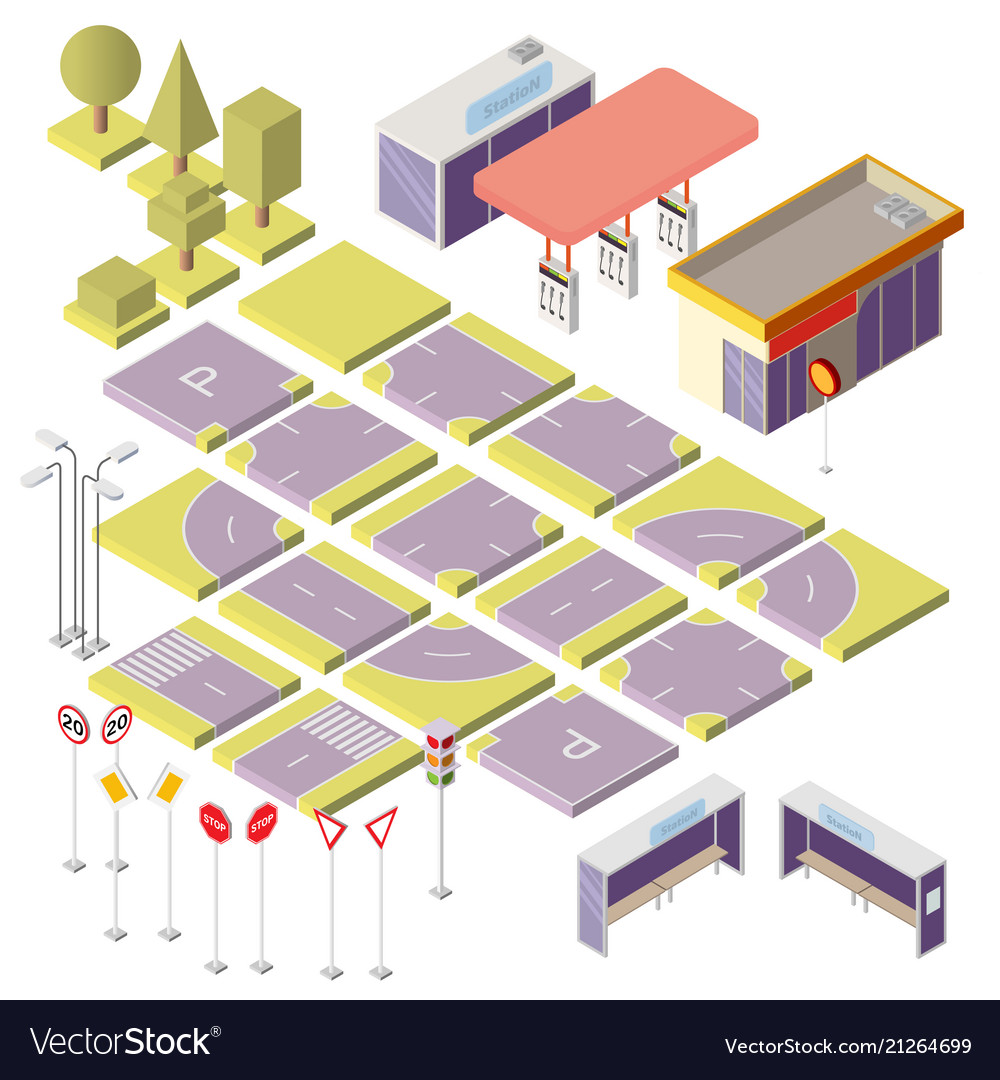 Isometric city constructor with 3d elements