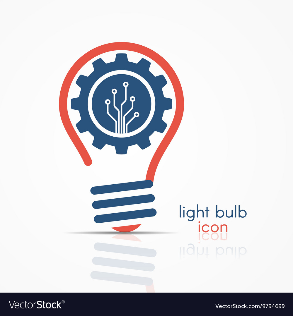 Light Bulb Idea Icon With Gear And Circuit Board Vector Image Printed Technology Conceptual