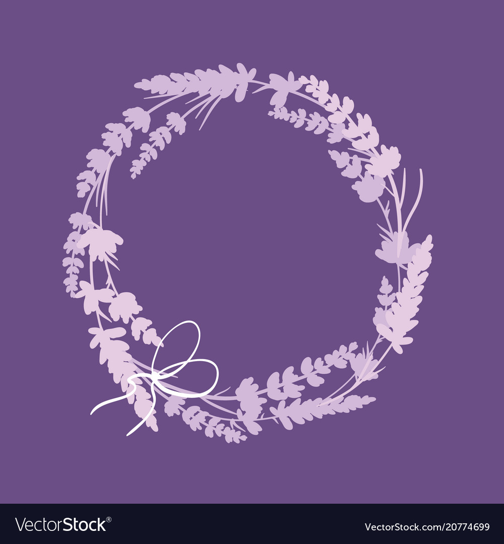 Purple lavender flowers wreath decor arrangement vector image