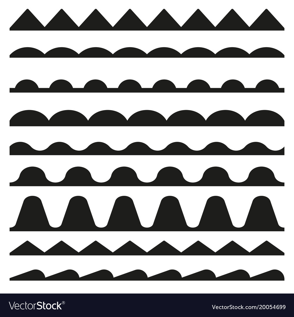 Set of seamless zigzag and wave borders design vector image