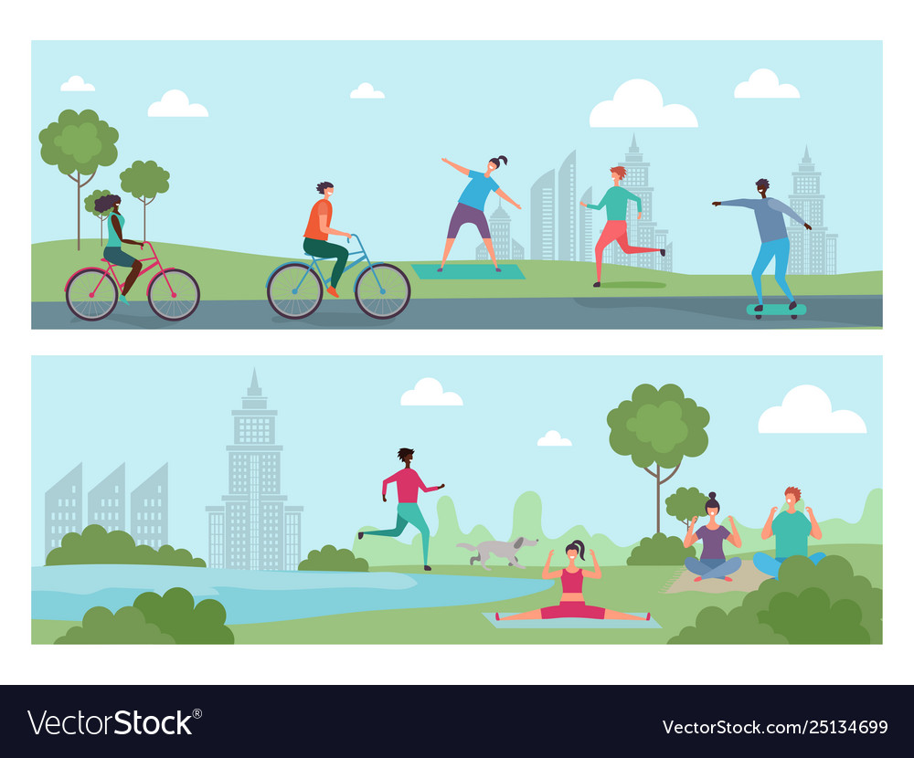 Sports people in city park outdoor activity