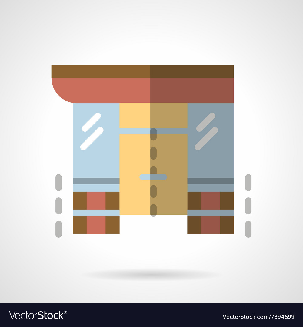 Storefronts flat color icon Supermarket