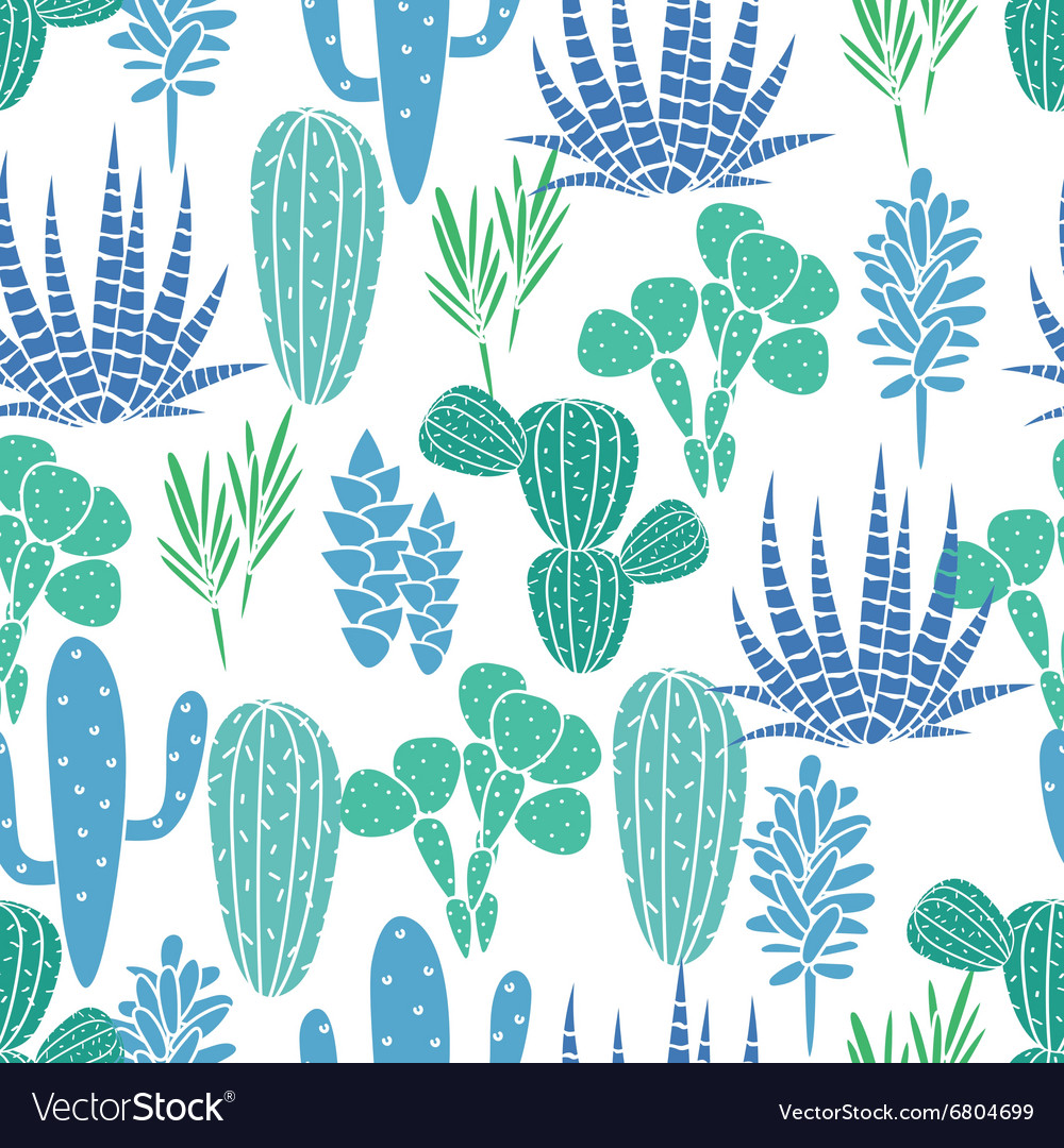 Succulents plant seamless pattern vector image