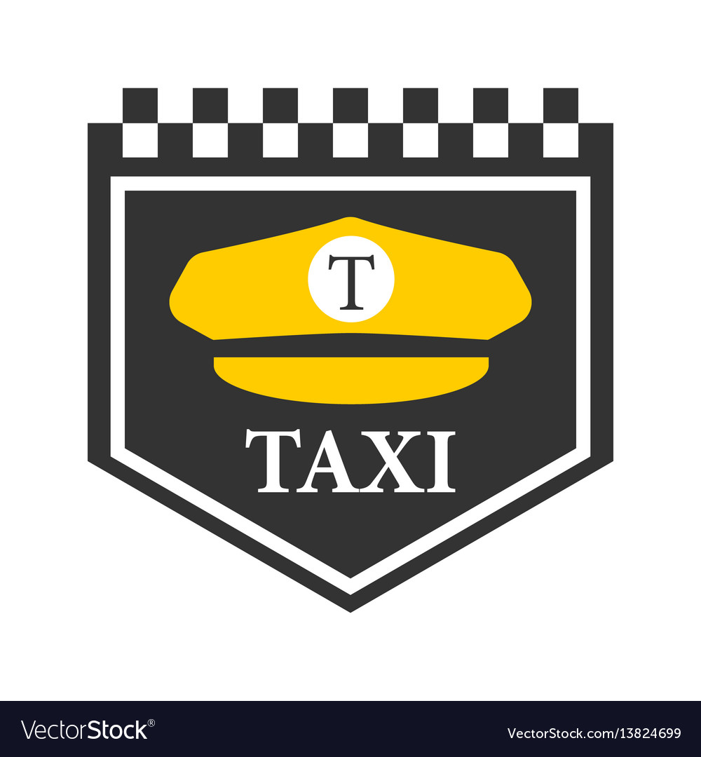 Taxi logo with black and white checkers driver