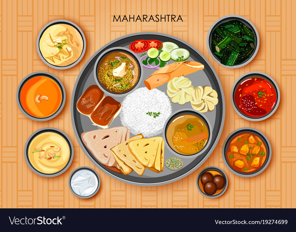 Traditional maharashtrian cuisine and food meal