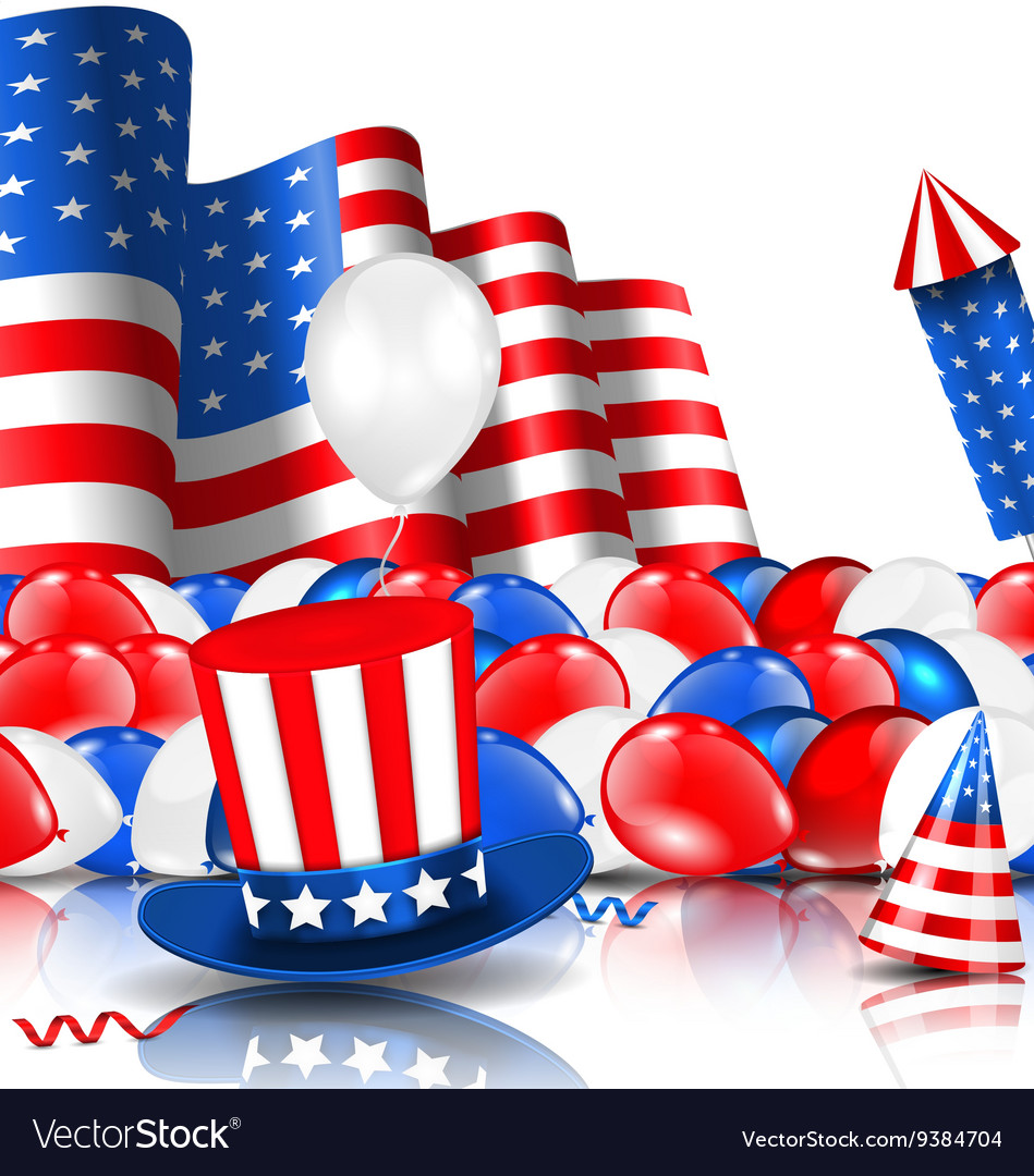 American Background with Balloons Party Hats