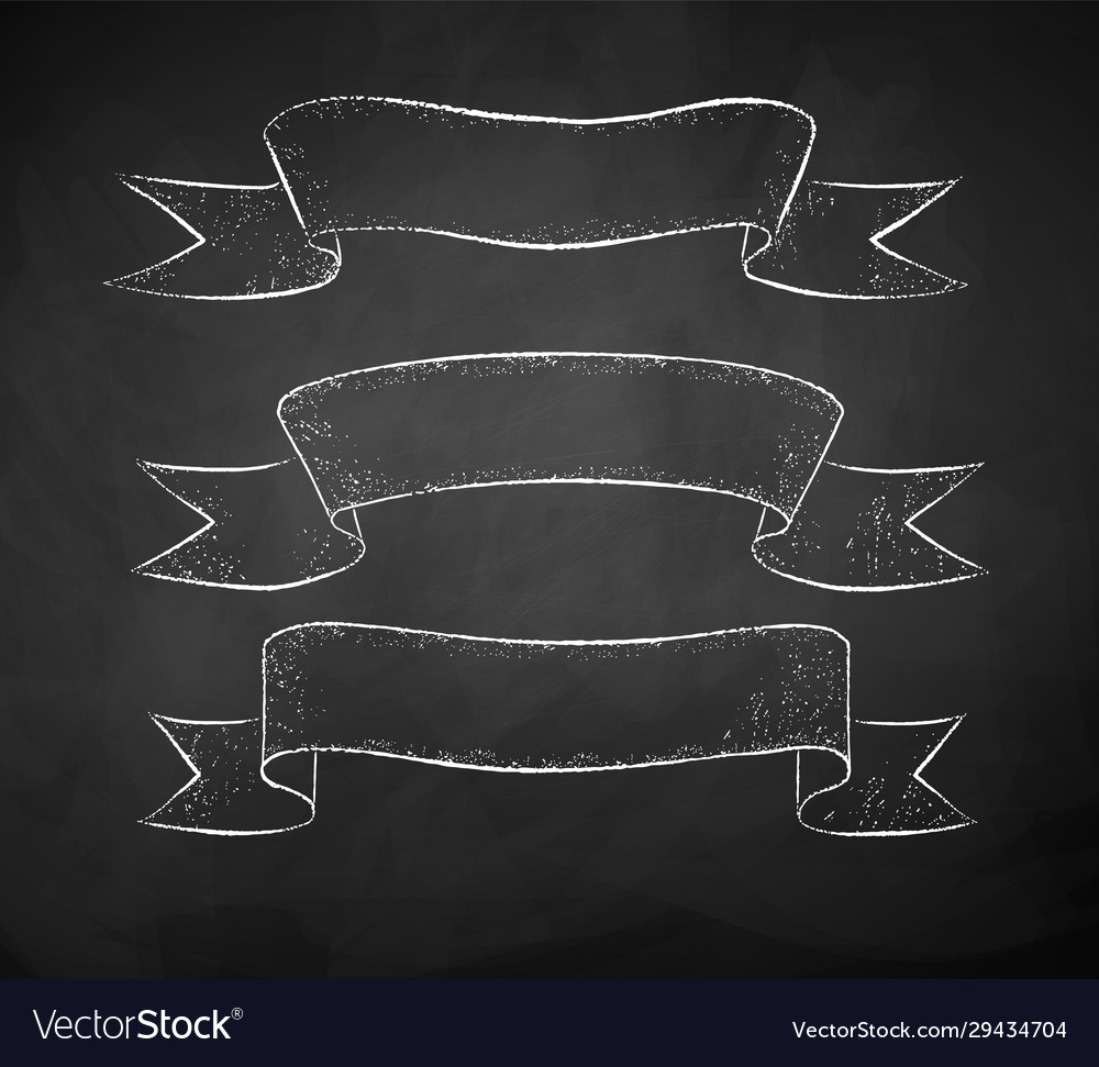 Chalk drawing scroll banners