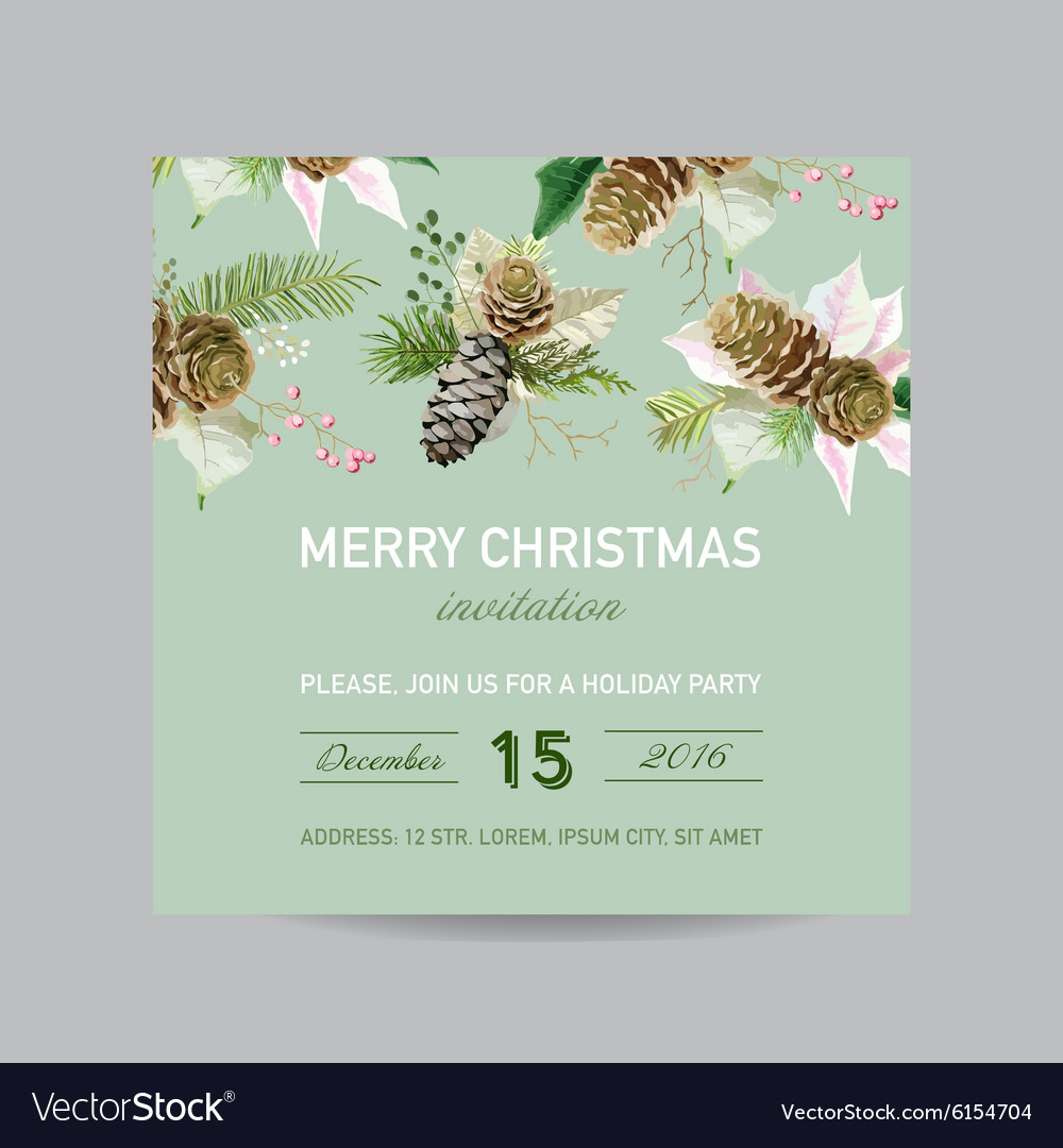 Christmas Invitation Card - in Watercolor Style