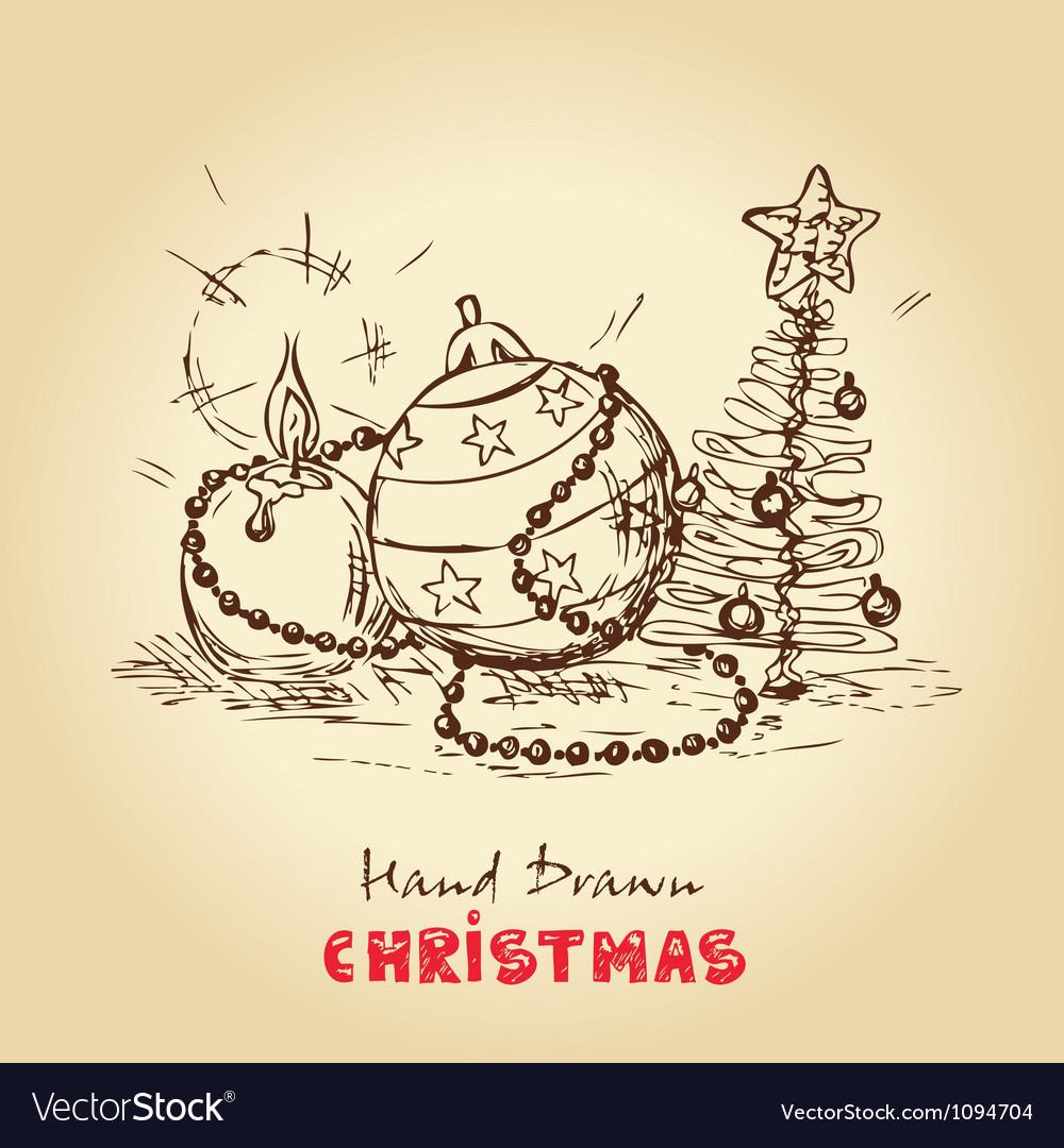 Christmas vintage card vector image