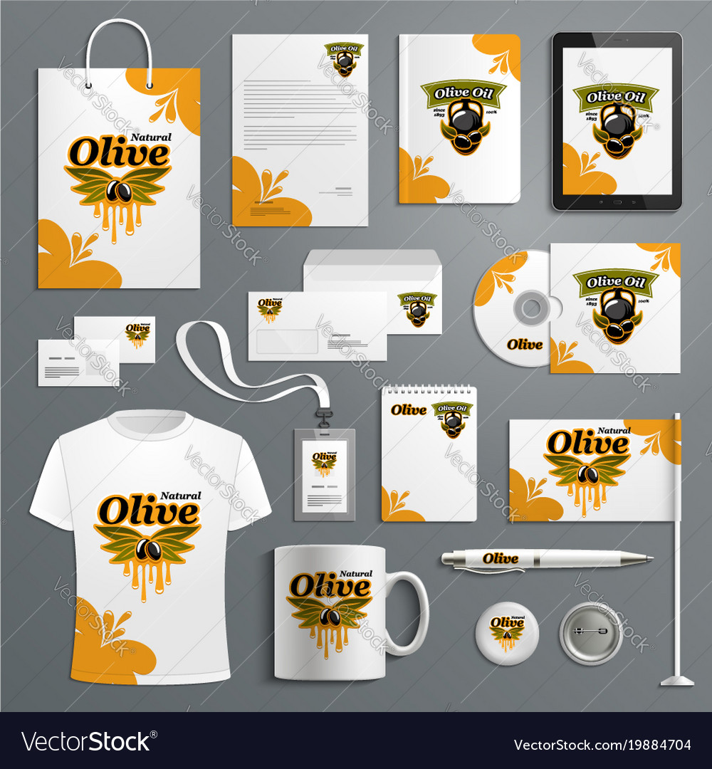 Corporate identity template for olive farm product