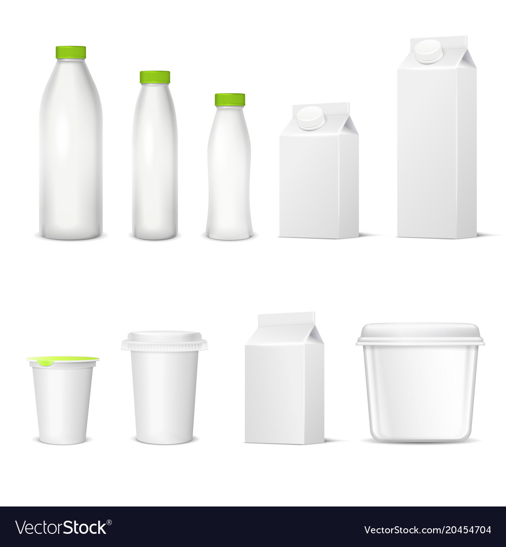 Dairy packaging realistic set